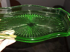 Vintage Green Depression Glass Candy/Veggie Dish,Has Handles On Each Side,Nice