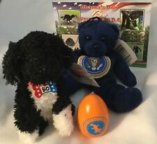 4 OBAMA ITEMS = WHITE HOUSE 2014 EASTER EGG SIGNED + TOY BO DOG + BEAR + CARD