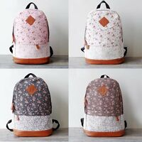 Women's Girls Canvas Bag Backpack Floral Lace Rucksack College Schoolbag Satchel