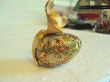 "Beautiful Vintage Brass Mouse holding Cloisonne Egg 2 Pieces 2"" x 3"""