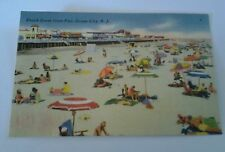 Vintage Linen Postcard Beach Scene from Pier, Ocean City N. Y.