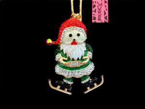 Green Enamel Crystal Santa Claus Pendant Sweater Chain Betsey Johnson Necklace