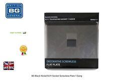 BG Black Nickel RJ11 Telephone Socket Screwless Plate 1 Gang