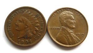 UNITED STATES INDIAN HEAD CENT 1904 VF+ & LINCOLN WHEAT CENT 1919 EF.