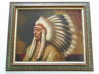 BECERRA PAINTING VINTAGE NATIVE AMERICAN INDIAN ICONIC LARGE PORTRAIT CHIEF