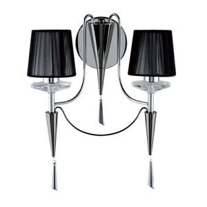 Duchess 2 Light Chrome And Black Chrome Wall Light With Black String Shades New