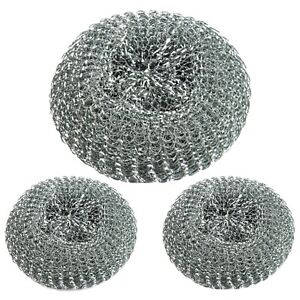 3x Large Stainless Steel Wire Scouring Pad Washing Cleaning Pots Pans Scourers