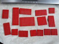 lego x 15 red flat / mini base boards