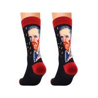 Personality Art Van Gogh Mural World Famous Oil Painting Series Men Cotton Sock