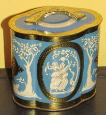 ~Vintage Murray Allen Imported Candy Biscuit Grecian 2 Tin Made in England Blue~