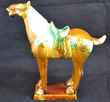 Chinese Sancai Glazed Tang Dynasty Style War Horse Flambé Glaze Drip Glaze Vtg 2