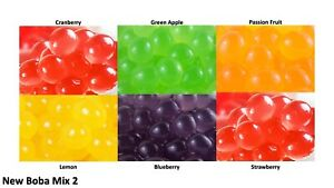 6 packs of different flavours Popping Boba Bursting Bubbles for Bubble Tea Mix 2