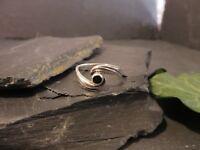 Schöner 925 Silber Ring Schwarz Email Geschwungen Welle Designer Elegant Modern