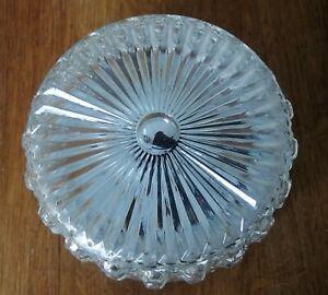 plafonnier vintage rond en verre moulé
