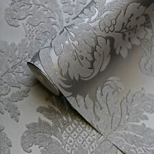 GLITTER DAMASK WALLPAPER GREY / SILVER - PEAR TREE STUDIOS UK10435