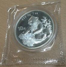 CHINA 1998 10 YUAN 1OZ SILVER PANDA COIN BU UNC SMALL DATE in original packaging