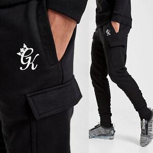 GYM KING Mens Cargo Joggers Slim Tracksuit Designer Jogging Bottoms Sweatpants