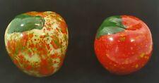 Vintage Set of 2 Ceramic Splatterware Apples