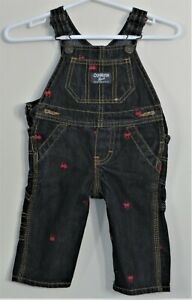 OSHKOSH B'GOSH Vestbak Boys Size 6 Months Blue Denim Snap Crotch Overalls