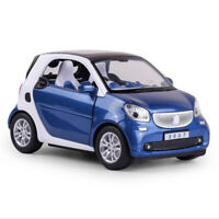 Benz Smart ForTwo 1/24 Model Car Diecast Gift Toy Vehicle Blue Kids Pull Back