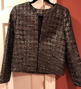 J. Crew Collection Grey Wool Metallic Houndstooth Phoebe Jacket Style 11377 Sz 4
