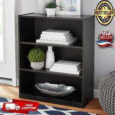 3- Wood Shelf Bookcase (USA SELLER)Adjustable Shelving,Wide Storage Display