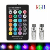 2x Car Wedge Side Light T10 6SMD 5050 RGB LED Reading Lamp Bulb+Remote Control