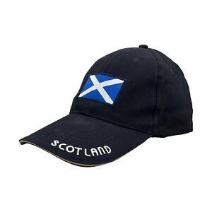 "Adults Scottish Saltire Flag Baseball Cap with ""Scotland"" Embroidered Peak"