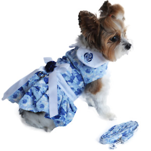 Doggie Design Blue Rose Harness Dress with Matching Leash