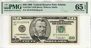 1996 $50 FEDERAL RESERVE NOTE ATLANTA FR.2126-F PMG GEM UNC 65 EPQ (345B)