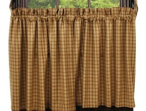 primitive country cabin farmhouse CAMBRIDGE MUSTARD & tan plaid TIER curtain