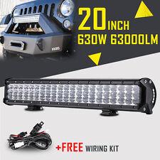 "Tri-Row 20"" 630W CREE LED Work Light Bar Flood Spot Beam Off Road Fog Lamp 4X4WD"