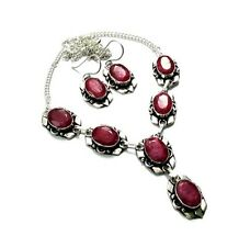 Charming! Natural Top AAA Red Ruby Oval Cut Gemstone 925 Silver Plated Necklace