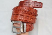 WITHOUT JOINTED - Red Brown Alligator, Crocodile Leather SKIN MEN'S Belt - W 4cm