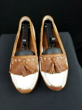 Etienne Aigner Leather Rustic Womens Size 8.5 Country Loafer Shoes
