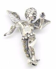 Brosche  Engel   Markasit   925 Sterling Silber