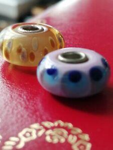 Original Trollbeads 2 Stück unikat Murano Glas, schwebende Samen und?+Gratis 2st