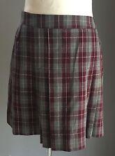 Retro TARTAN SKIRT Grey /Burgundy/White Check Pleated Skirt Size 14