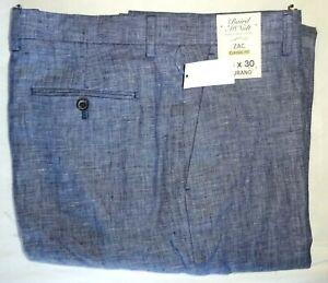 Murano Mens Pants 36x30 Classic Fit Zac Blue Baird McNutt 100% Linen NWT