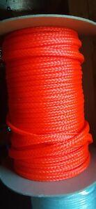 10 mm x 290 ft. 16 Strand Hollow Braid Polyethylene Rope. Neon Orange