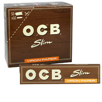 12 x OCB Brown Virgin Unbleached Kingsize Slim Rolling Paper Ultra thin Natural