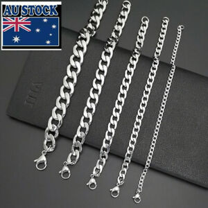 2.5-15mm Stainless Steel Silver Curb Link NK Chain Bracelet 19-25cm Wholesale