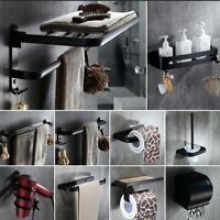 Black Bath Accessory Set Toothbrush Holder Soap Dish Towel Bar/Ring Tissue box