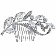 Lux Accessories Silver Tone Crystal Rhinestone Pave Leaf Hair Comb