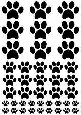 PAW PRINTS Dog Cat Mixed Sizes A5 Sheet 42 per sheet (mixed) BLACK