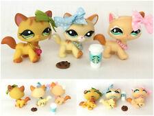Littlest Pet Shop LOT 3 Walking Cat #626 Glitter Diamond  #1137 Green #2034 Bows