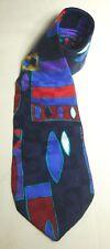 Vintage Halston Necktie 80s Wide Geometric Pattern Tie Black Red Teal Silk WOW