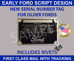 FORD DATA PLATE SERIAL TAG VIN ID NUMBER VINTAGE FORD SCRIPT DESIGN MADE IN USA