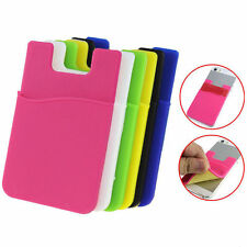 1pc Silicone Wallet Credit Card Cash Stick Adhesive Holder Case iPhone Cellphone