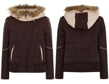 Womens Hooded Jacket Fur Quilted Ladies Button Zip Padded Light Weight Coat G7